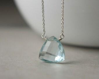 Pale Blue Quartz Necklace, Faceted Glass Necklace, Silver Chain Necklace, Blue Pendant Necklace, Blue Quartz Jewelry, Bridal Jewelry
