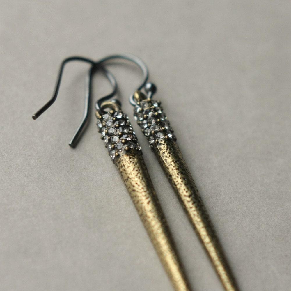 Long Metal Spike Earrings Spike Jewelry Linear by juliegarland