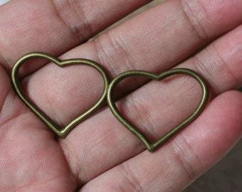 "Antique brass heart link connector dangle drop size 25x25mm (1""x1""), 8 pcs (item ID YDHeartAB)"