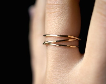 SOLID 14K Gold Wraparound ring, 14K gold wrap ring, wrapped gold ring, gold stacking ring, gold wrap around ring, gold infinity ring
