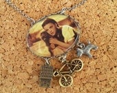 OVER THE RAINBOW - Upcycled Dorothy & Toto in Sepia Pendant Charm Necklace