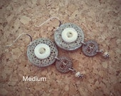BEAUTIFUL NOTION - MOP Button & Filigree Dangling Earrings