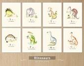 Dinosaurs print set, Dinosaurs nursery, Prehistoric creatures set of 8 prints