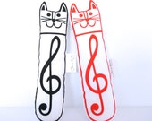 Scandinavian Retro Screen Printed Musical Cat Toy Softie Softie by Jane Foster Treble Clef