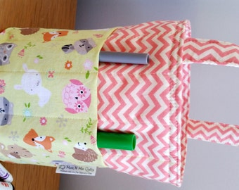 Creative Kids Art Bucket - Forest Critters and Chevron - Fabric Basket Organizer Easter Basket - Fox Racooon Hedgehog Owl READY TO SHIP