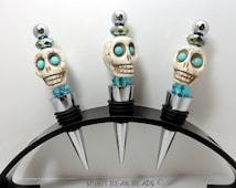 Turquoise Skull Wine stopper  Dia De Muertos Day of the Dead  Gift