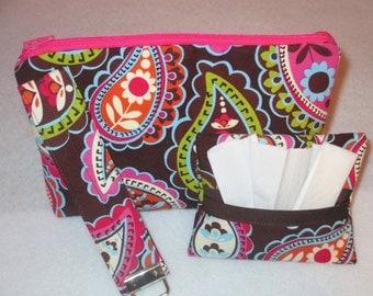 Makeup bag, key fob, tissue cozy, makeup case, key chain. tissue case,travel set, Paisley