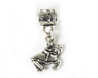 Knight on Charger  Lr Hole Bead Fits All European, all Add a Bead Charm Bracelet Jewelry AAB-fan018
