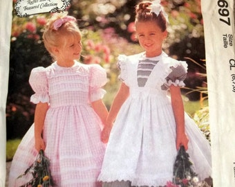 Dress and Pinafore 1997 McCall's Sewing Pattern #8697Un-Cut Ruffles and Lace Treasured Collection