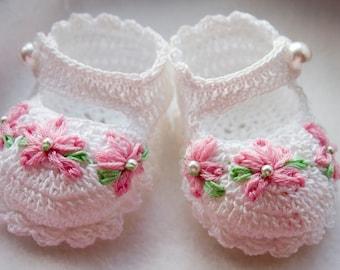 Cheryl's Crochet CC56-Fancy Mary Janes Crochet Baby Booties Pattern