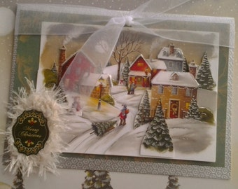 Traditional Christmas Card - Snowy Village - Merry Christmas