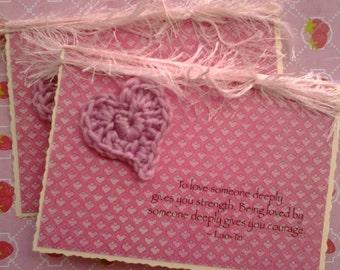 Stunning valentine, wedding, proposal, birthday card - Lao-Tzi quotation - crocheted heart