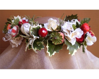 Christmas floral head wreath Yule candy crown Winter Solstice flower headpiece St Lucia Victorian renaissance costume