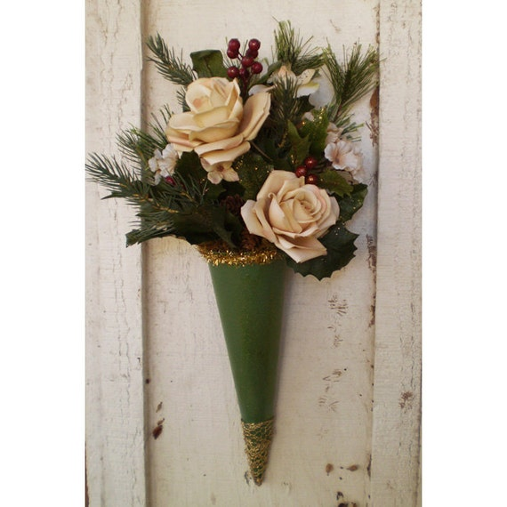 Holiday Victorian vintage style Christmas Yule Winter Solstice floral wall hanging paper cone