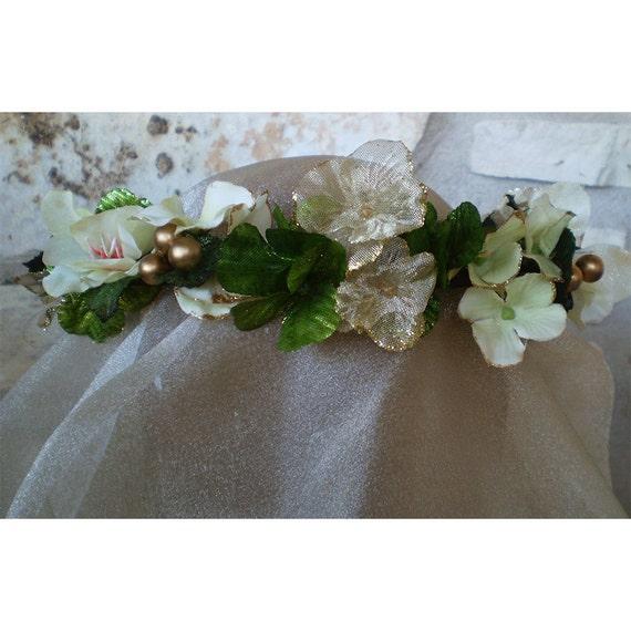 Shamrock St Patricks Day floral head wreath clover corn Irish wedding flowers celtic faerie