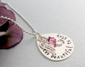 Too Beatiful To Stay Memorial Necklace - Too Beautiful For Earth - Infant Loss - Remembrance Necklace - Angel Wing - Birthstone - Baby Feet