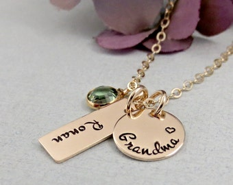Personalized Grandma Necklace, Grandchild Name Necklace, Personalized Gold Necklace, Name Birthstone Necklace, Gift for Grandmother, Nana