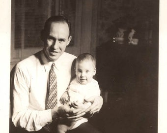vintage photo 1938 Father Holds his baby Boy Son Look alike