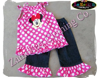Toddler Baby Girl Clothes Pink Polka Minnie Mouse Pillowcase Top  Ruffle Pant Outfit Set 3 6 9 12 18 24 month size 2t 2 3t 3 4t 4 5t 5 6 7 8