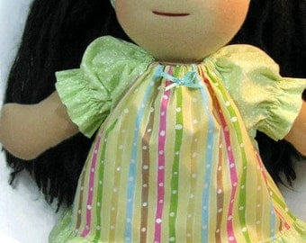 Waldorf doll dress, summer doll dress in pastel stripes, doll clothing with headband, 14, 15, 16 inch doll clothes
