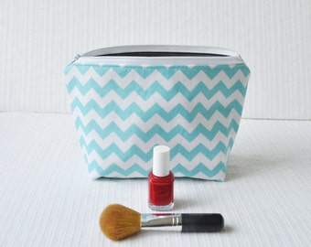 6 x 9 Zippered Pouch - Aqua Chevron and Gray