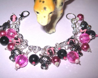 Leopard Charm Bracelet Leopard Bracelet Wild Jungle Cat Animal Print Beads Spotted Leopard Charm Jewelry OOAK Statement Piece Pink Black