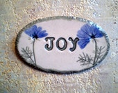 Joy, Wall Art, Ceramic Wall Plaque with Blue Flowers, Ready to Ship