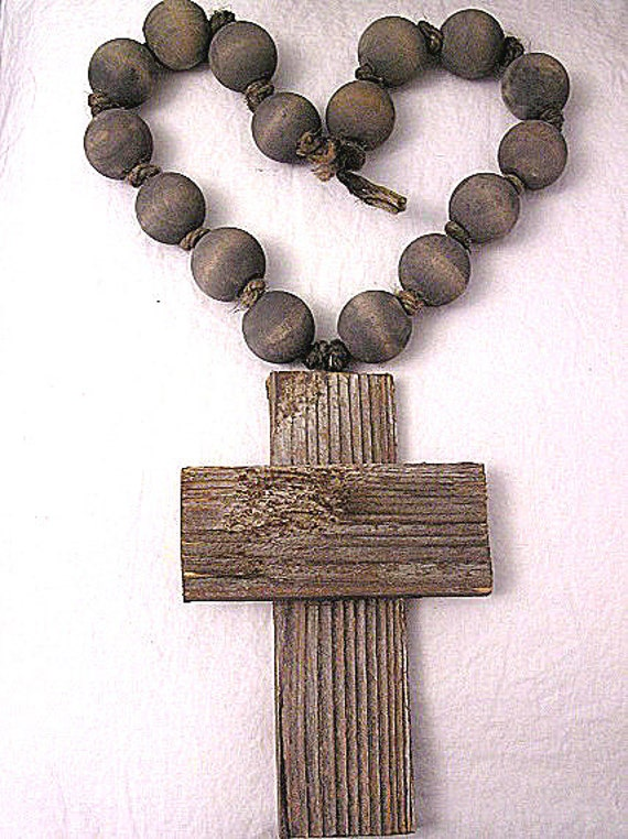Hand Strung Large Grey Wood Bead Chunky Barn Wood Cross Rosary Necklace Decoration