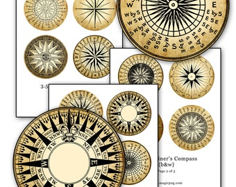 Aged Antiqued Mariner's Rose Compass black & white digital collage sheet 3.5 inch circle 88.9mm 8.89cm
