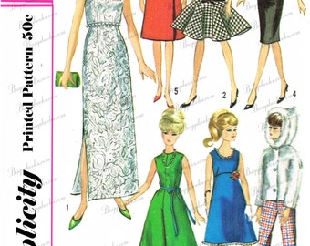 Vintage Simplicity 6208- 11 1/2 inch dolls, such as barbie, PDF file