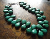 Evergreen Howlite and Glass Beaded necklace