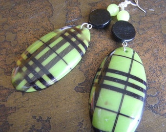Plaid It Acrylic and Glass Beaded Dangle earrings