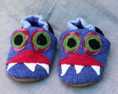 Purple Monster Wool Slippers Kids  Slippers Leather Bottom Size 3-4 years old made from recycled materials