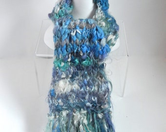Handspun Wool and Mohair Scarf in Blue