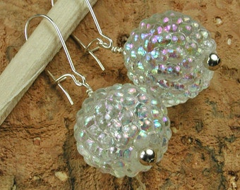 Opalescent White Lucite Berries with Sterling Earrings