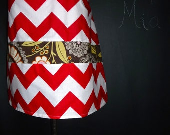 Ready to MAIL -  A-line Patchwork Skirt - Red and White Chevron - Will fit Size M up to L - by Boutique Mia