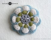 Handmade Crocheted, Felted and Embellished Wool Brooch Pin in Gray/Blue, Oatmeal & Green