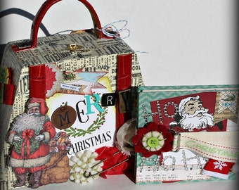MERRY CHRISTMAS Purse Shaped Hinged Wood Box Holder with Multi Page Accordion Scrapbook Scrapbooking  Album Journal Inside