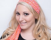 Women's Colorful Orange Tie On, Stretchy Headband Scarf