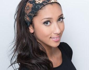 Wide Headband, Wide Head Band, Wide Hairband, Wide Hair Band, Batik Headband, Batik Head Band, Brown Headband, Brown Hairband Womens Ladies