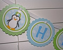 PENGUIN Happy Birthday Banner / Penguin Winter Birthday Banner / Winter Birthday Banner / Green Blue Banner / Includes Age