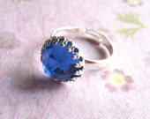 Blue Swarovski ring Blue rhinestone ring silver cocktail ring silver statement ring Cobalt Blue ring valentines day gift for her