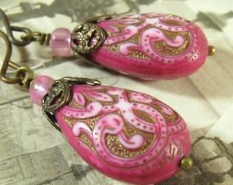 Pink and Gold Earrings, Scroll Earrings, Lightweight Earrings