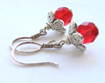 Red Flower Earrings, Red Earrings, Sterling Silver Earrings, Red Sterling Silver Petal Earrings