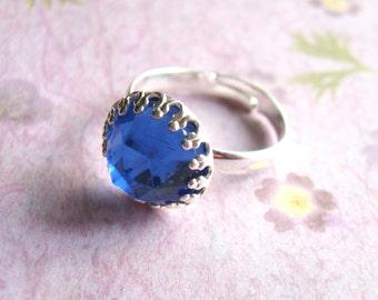 Blue Swarovski ring, Blue rhinestone ring, September Birthstone, silver cocktail ring, silver statement ring, gift for her