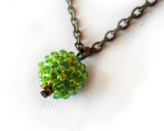 Green Glass Bead Necklace - Sweet Berry Necklace - Lime Green Small Bead Necklace