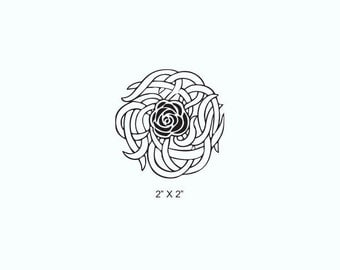 Rose and Thorns Knotwork Rubber Stamp 507