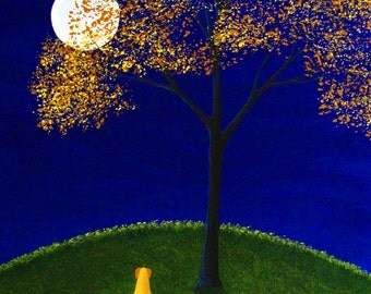 Yellow Lab Dog Autumn Folk Art Print by Todd Young OCTOBER SKY