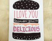 Burger print! I love you because you're delicious.