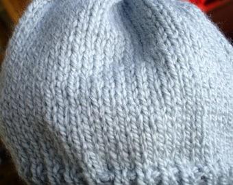 New Handmade Knit Hat in Gray Rainbow Classic - Women's Medium to Large
